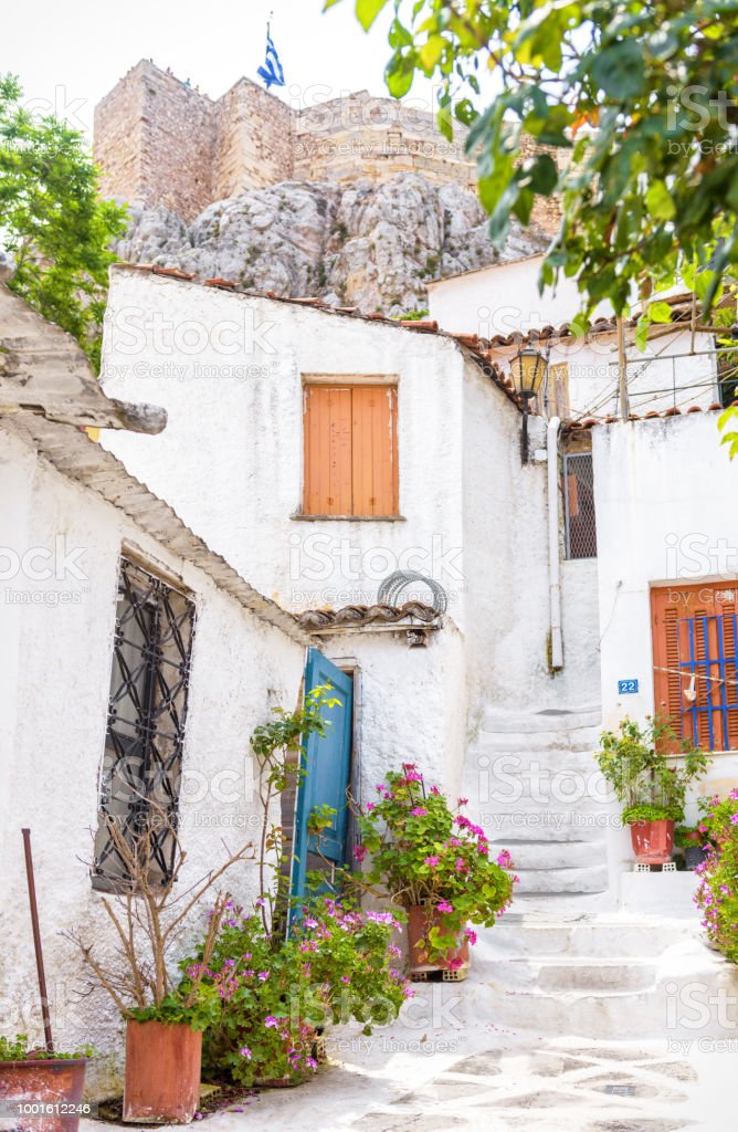 Street with old houses in Anafiotika, Plaka district, Athens stock photo