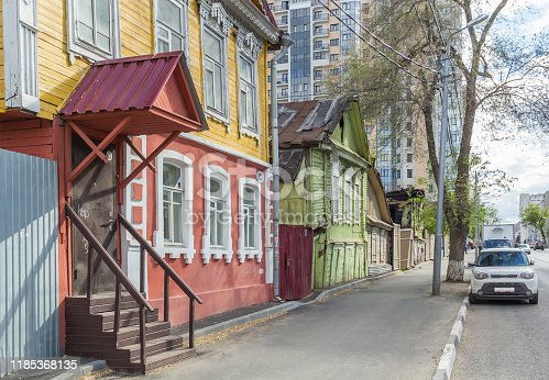 istock Street with old houses in Samara 1185368135