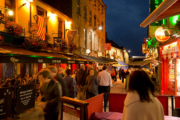 Street with pubs in Galway, Ireland stock photo