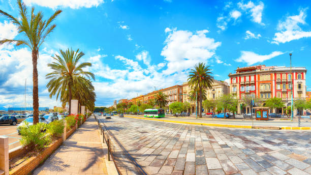 Street with road and typical architecture of the old center of Cagliari. stock photo