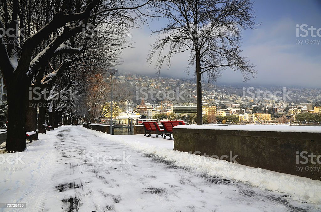 Street with snow stock photo