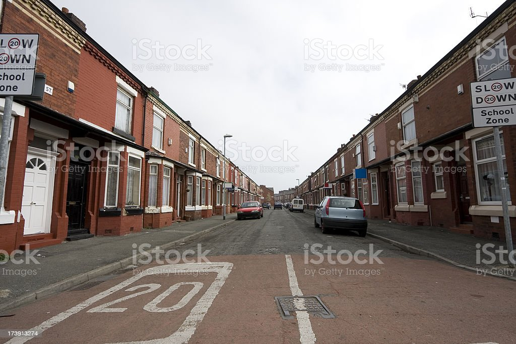 Street with speed limit stock photo