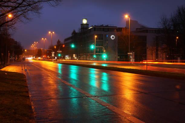 Street with traffic lights stock photo