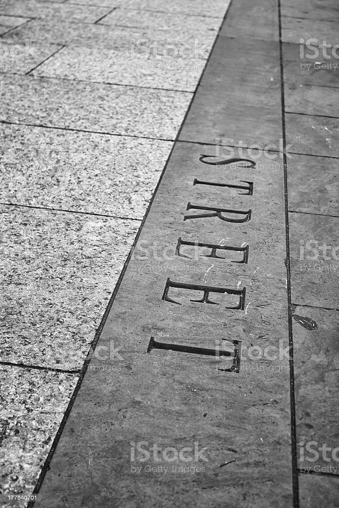 Street word carved on a sidewalk royalty-free stock photo