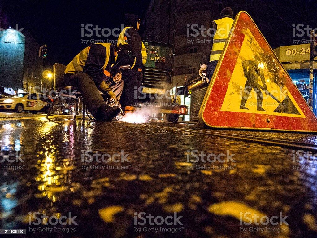 Straße Arbeiter Schweißen Titel – Foto