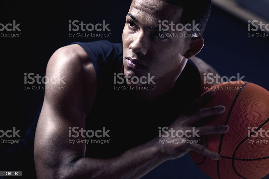 Streetball player's portrait _ vertical stock photo
