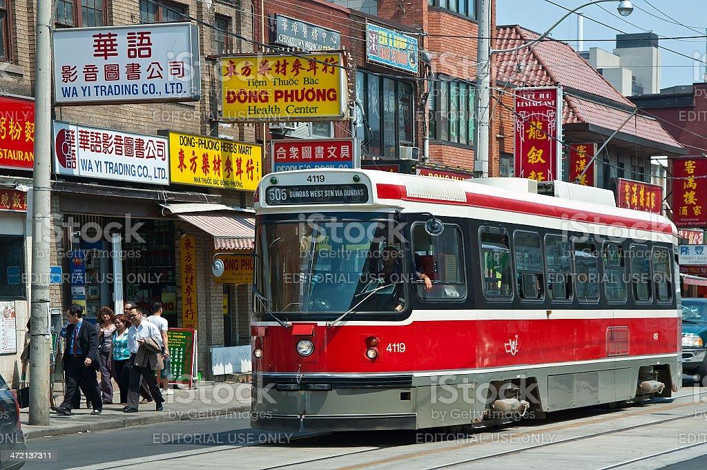 Streetcar in Chinatown, Toronto stock photo