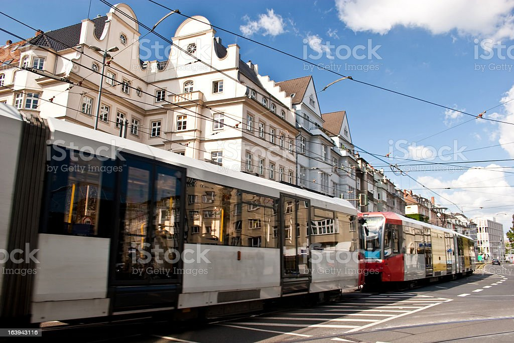 Streetcar in Cologne (Deutz), Germany stock photo