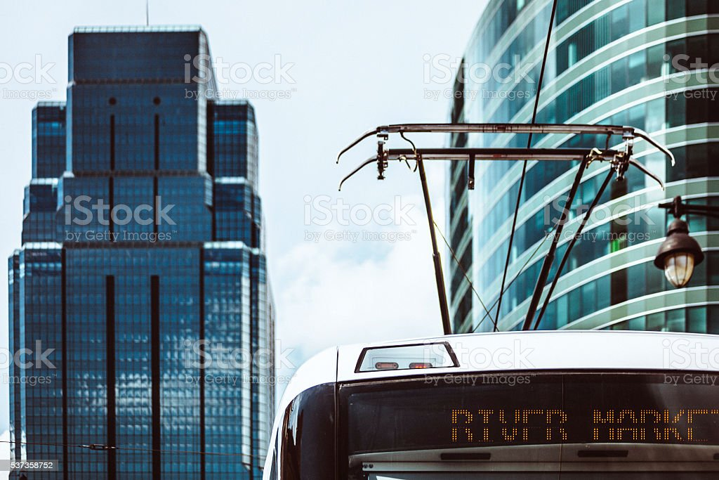 Streetcar in Kansas City. stock photo