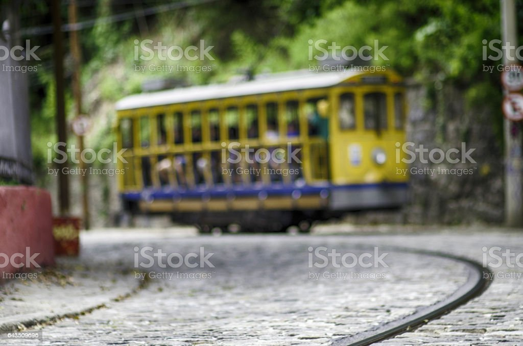 Streetcar in Santa Teresa Rio stock photo
