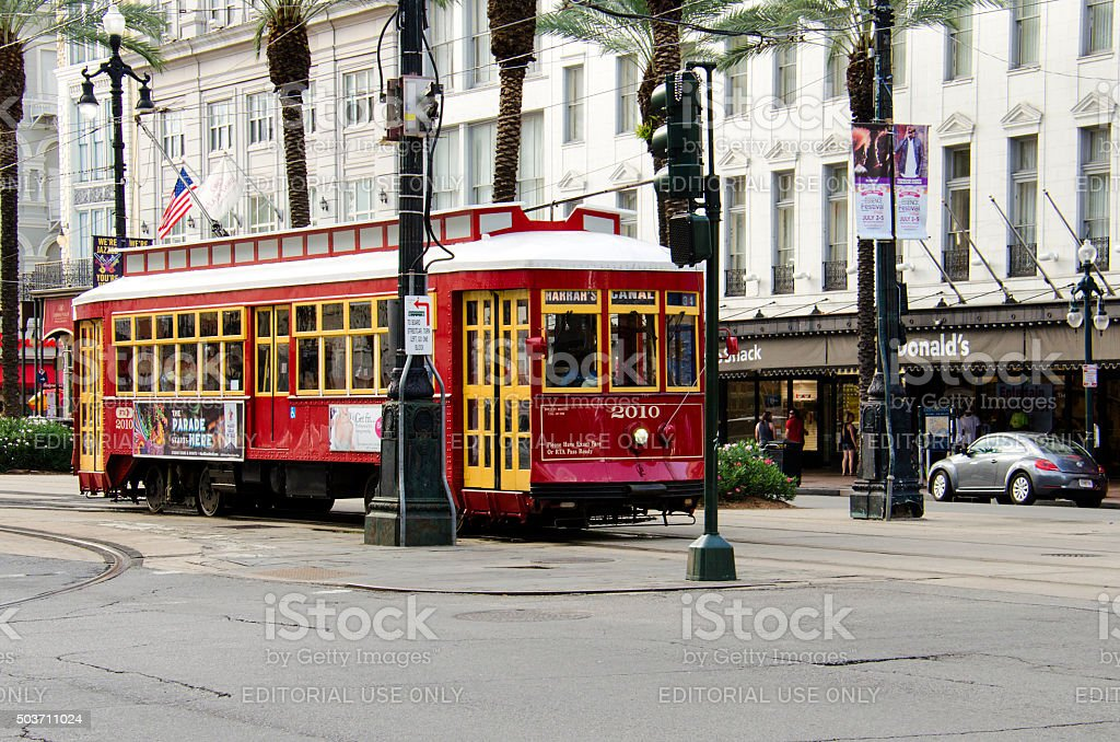 Streetcar in the downtown of New Orleans, Louisiana. stock photo