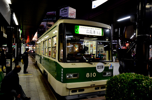 A streetcar of line 5 at Hiroden Hiroshima Station in Hiroshima, Japan