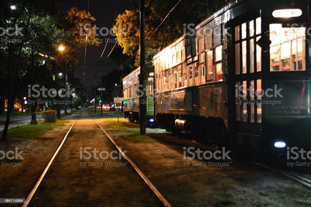 De tranvía St. Charles Avenue en Nueva Orleans, Louisiana - foto de stock