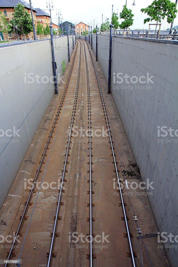 streetcar rails stock photo