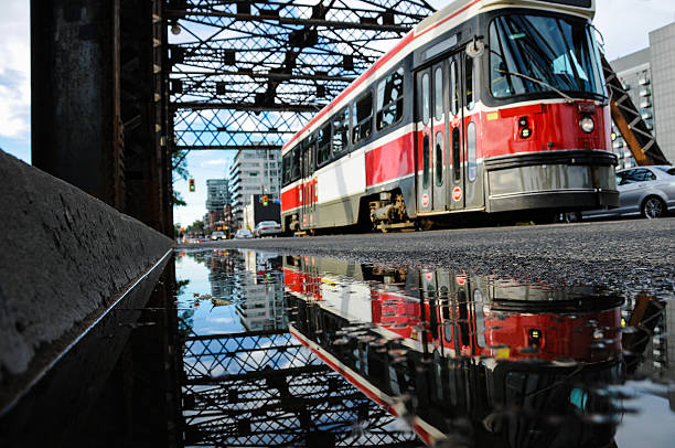 streetcar reflection stock photo