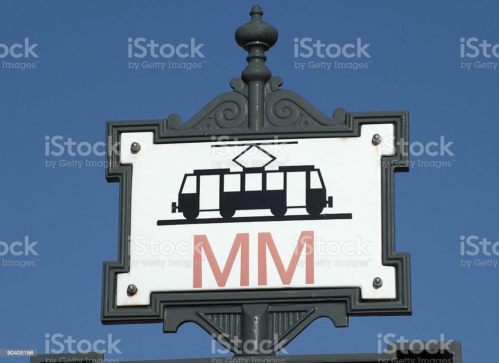 Streetcar stop sign royalty-free stock photo