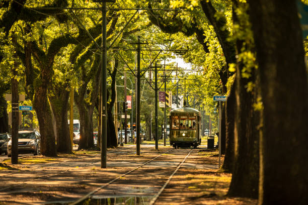 Streetcar travels along St. Charles Avenue in New Orleans Louisiana stock photo