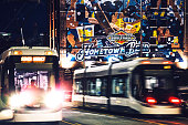 Kansas City, MO, USA - April 28, 2016: Brand new streetcars testing new routes in Kansas City night traffic.