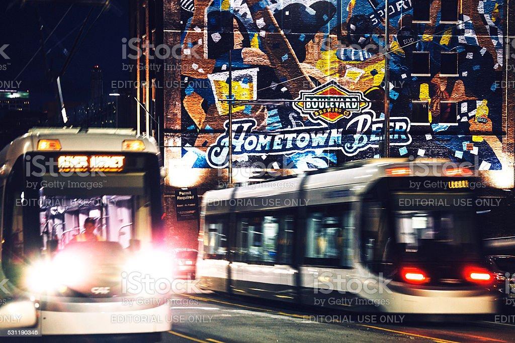 Streetcars in Kansas City. stock photo