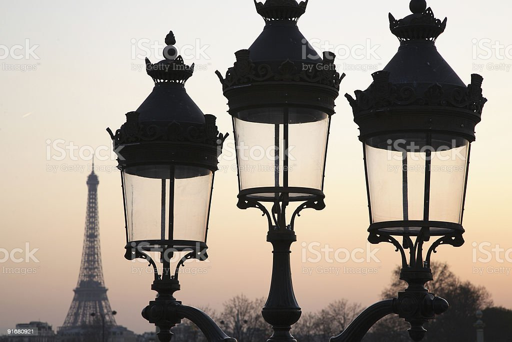 Streetlamp in Paris, France with Eiffel Tower in background royalty-free stock photo
