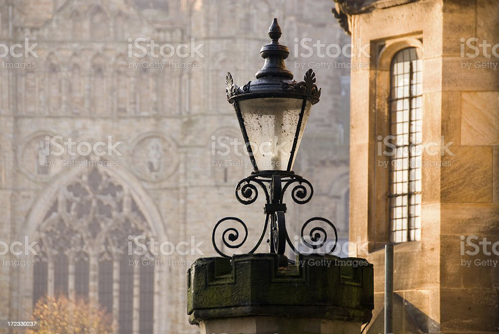 Street-Lamp with Durham Cathedral royalty-free stock photo