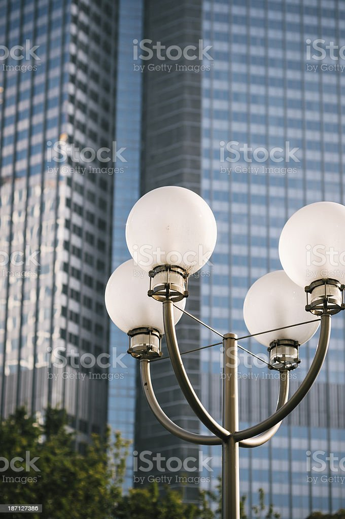 Streetlight in front of the Eurotower in Frankfurt am Main stock photo