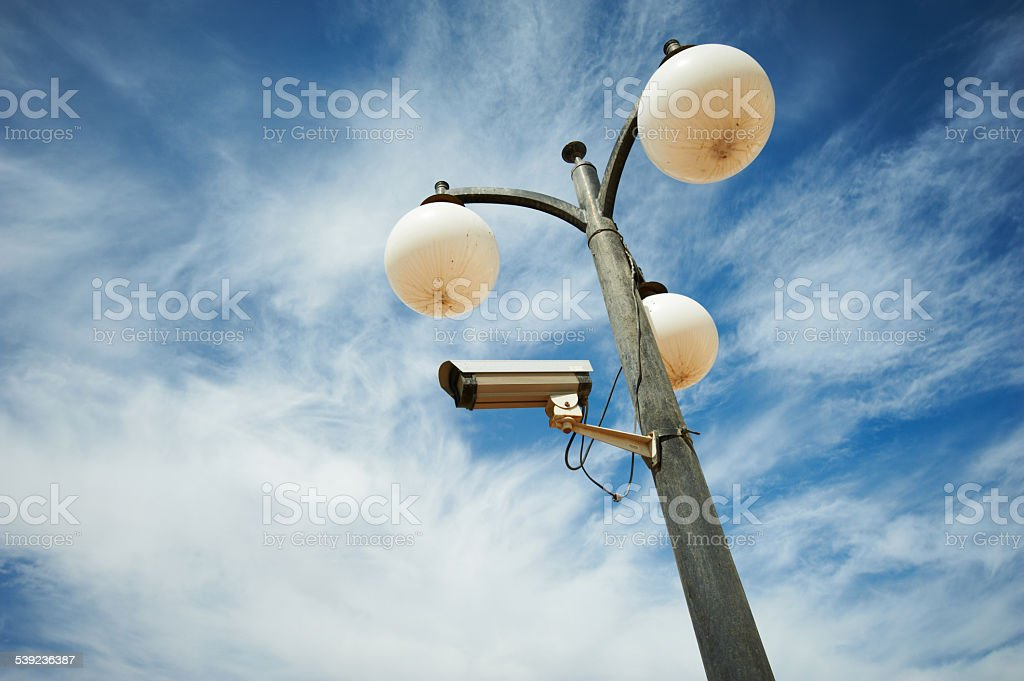 Streetlight with security camera royalty-free stock photo