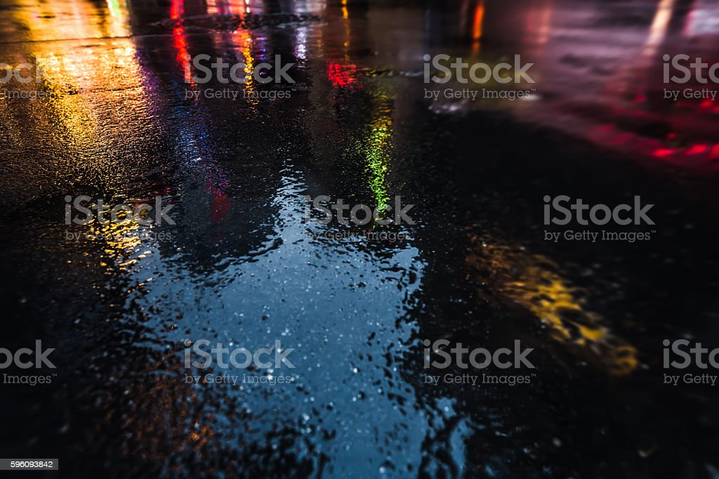 NYC streets after rain with reflections on wet asphalt royalty-free stock photo