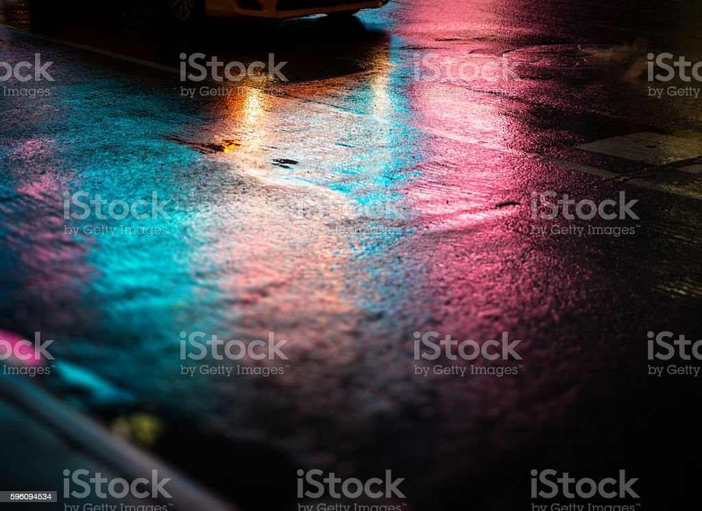 NYC streets after rain with reflections on wet asphalt Lizenzfreies stock-foto