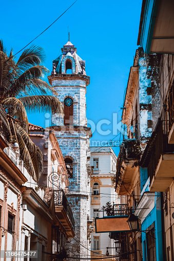 Streets And Bell Tower In Havana, Cuba