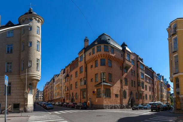 Streets and buildings of Katajanokka island, Helsinki, Finland stock photo