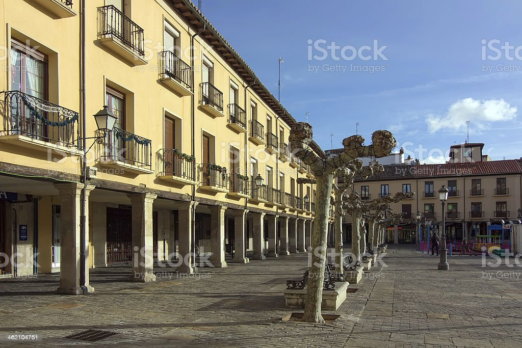 streets and buildings typical city of Palencia, Spain stock photo