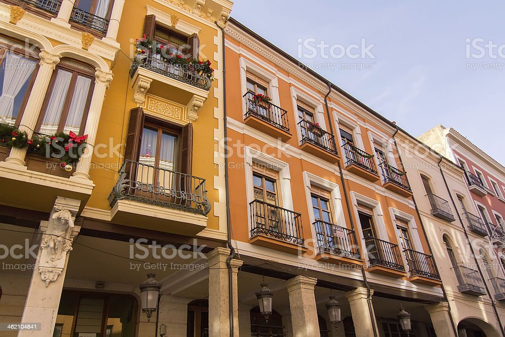 streets and buildings typical the city of Palencia, Spain stock photo
