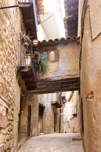 Streets and corners of the medieval village of Valderrobles, Mantarraya, Teruel province, Aragon, Spain