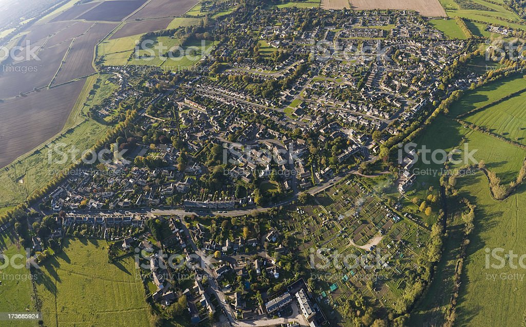 Streets and houses aerial view stock photo