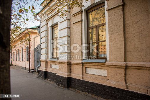 istock Streets and old bricks houses in the historic Kievan neighbourhood of Podil (Podol) Kiev, Ukraine. 914140868