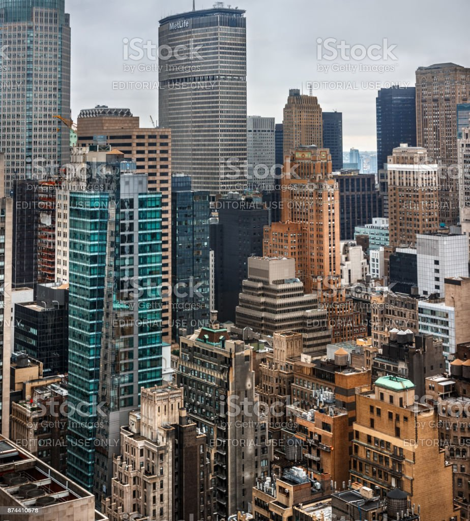 Streets and roofs of Manhattan in NYC stock photo