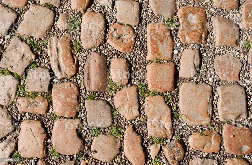 Streets and Squares: Historical cobblestone pavement in Saxony-Anhalt stock photo