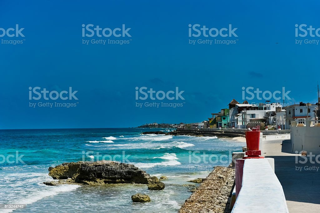 Streets and the sea of ​​Isla Mujeres stock photo