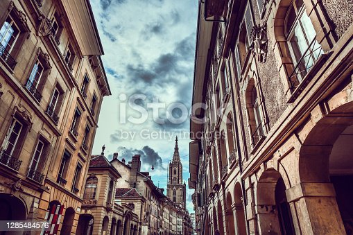 Streets, Architecture And Bern Münster Cathedral In The Back, Switzerland