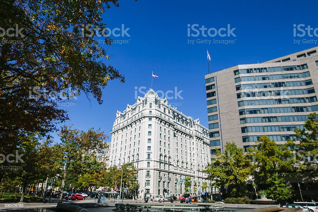 Streets, Architecture and traffic of Washington DC. stock photo