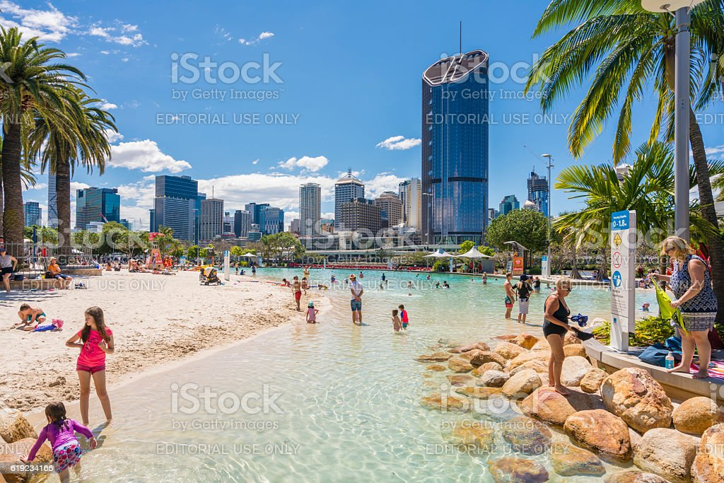 Streets Beach and skyscrapers in Brisbane stock photo