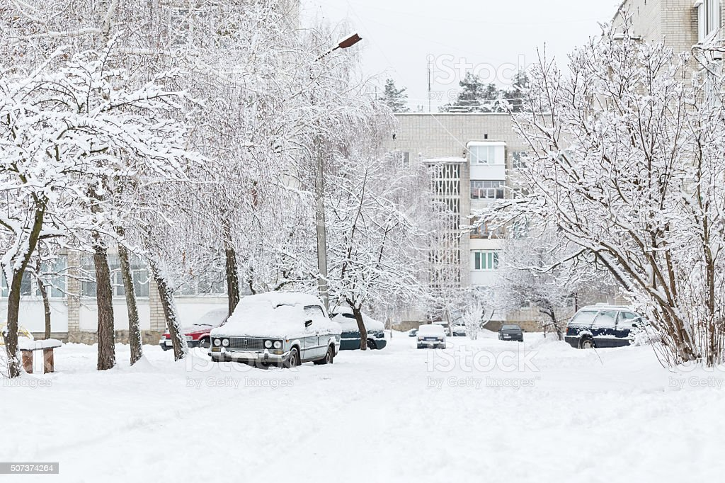 Streets covered with snow after snowfall. stock photo