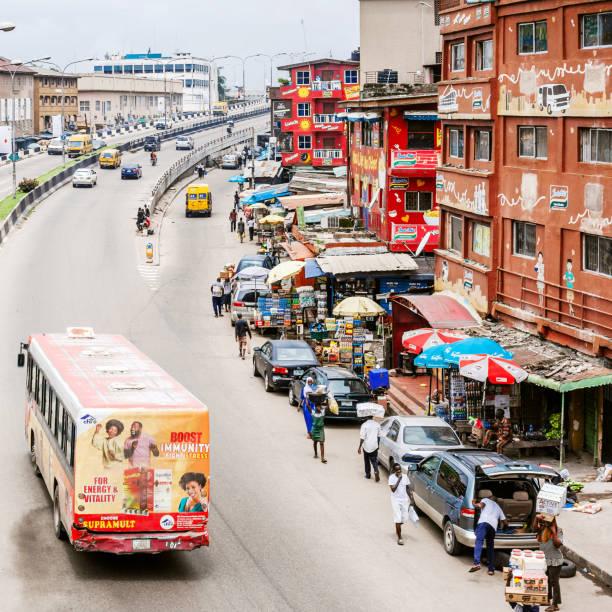 Streets of African city - Lagos, Nigeria stock photo