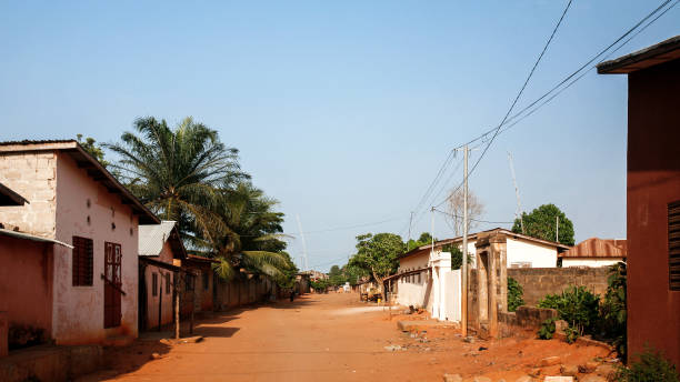 Streets of African town - Ouidah, Benin stock photo