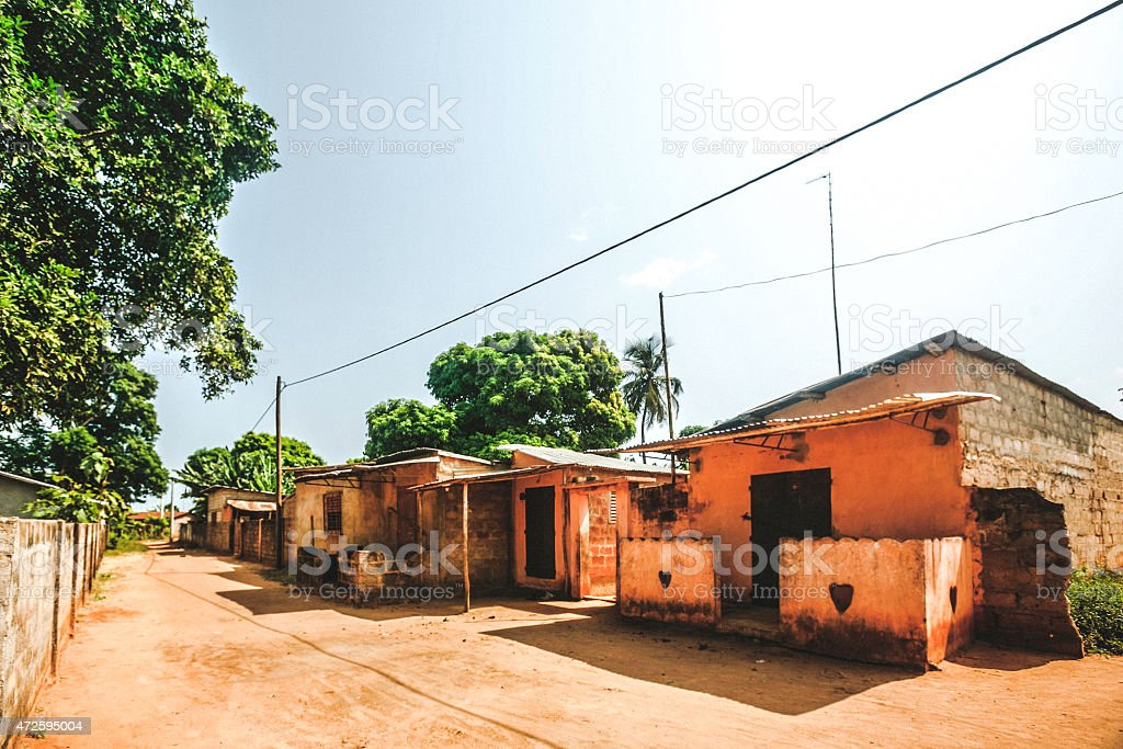 Streets of African town. stock photo