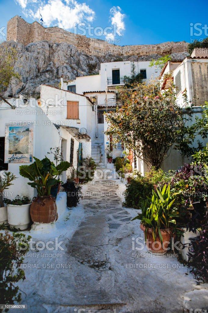 Streets of Anafiotika in Athens, Greece stock photo