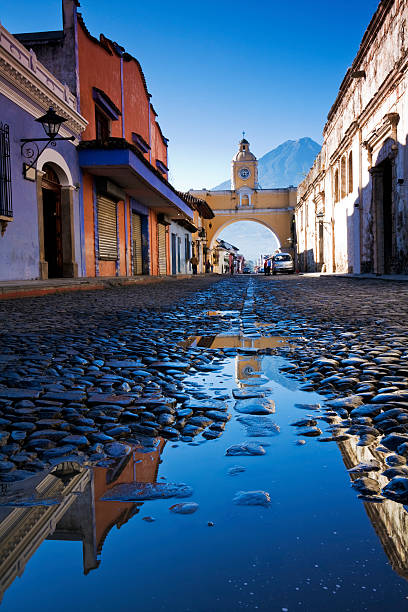 Streets of Antigua after rain. stock photo