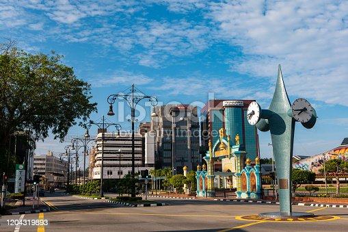 City of Brunei on the island of Borneo. City Street in Asian capital of Borneo.