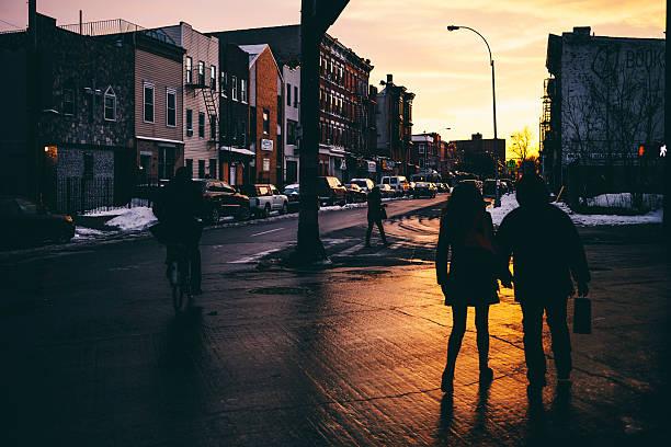 streets of bushwick, brooklyn, ny. - walking home sunset street bildbanksfoton och bilder